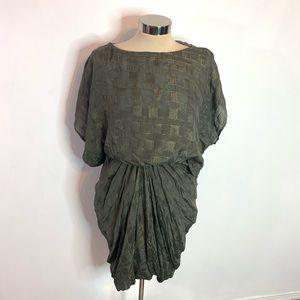 Yigal Azrouel metallic draped kimono sleeve dress